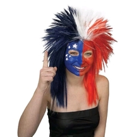 Sport Fanatic Red, Blue and White Adult Wig