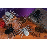 Creepy Flocked Spiders Brown