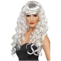Long Curly White Siren Adult Wig