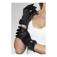 Short Gloves With Bow Black