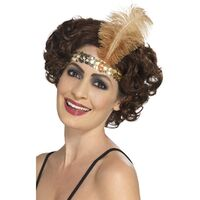 Flapper Headband Gold With Feather