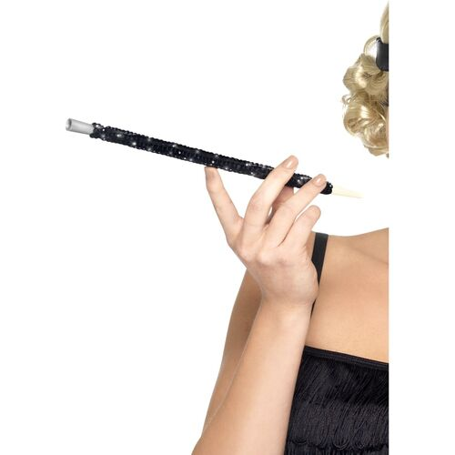 Cigarette Holder Sequinned Black